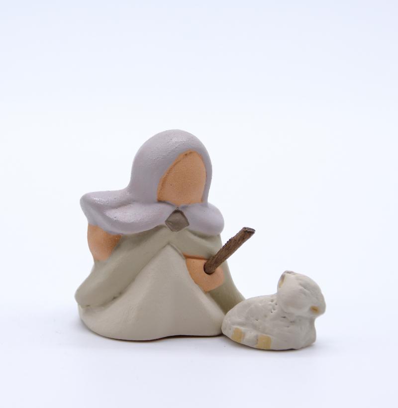 Bergère et son agneau dos produits santons