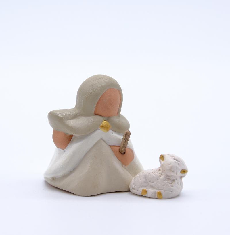 Bergère blanche et son agneau produit collection blanche