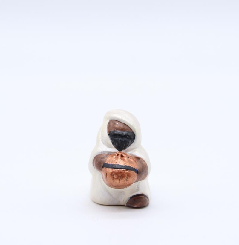 Roi noir blanc nacré produit creches miniatures couleur
