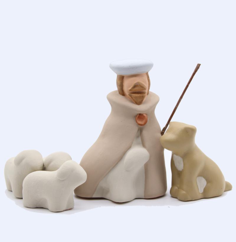 Berger, chien et trois brebis de Finiels