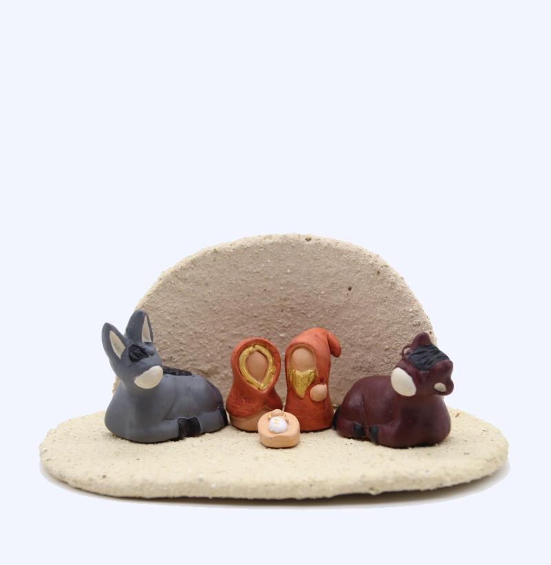 Plaque Et Abri Gres Du Tenere + Nativité Produit Etables Miniatures