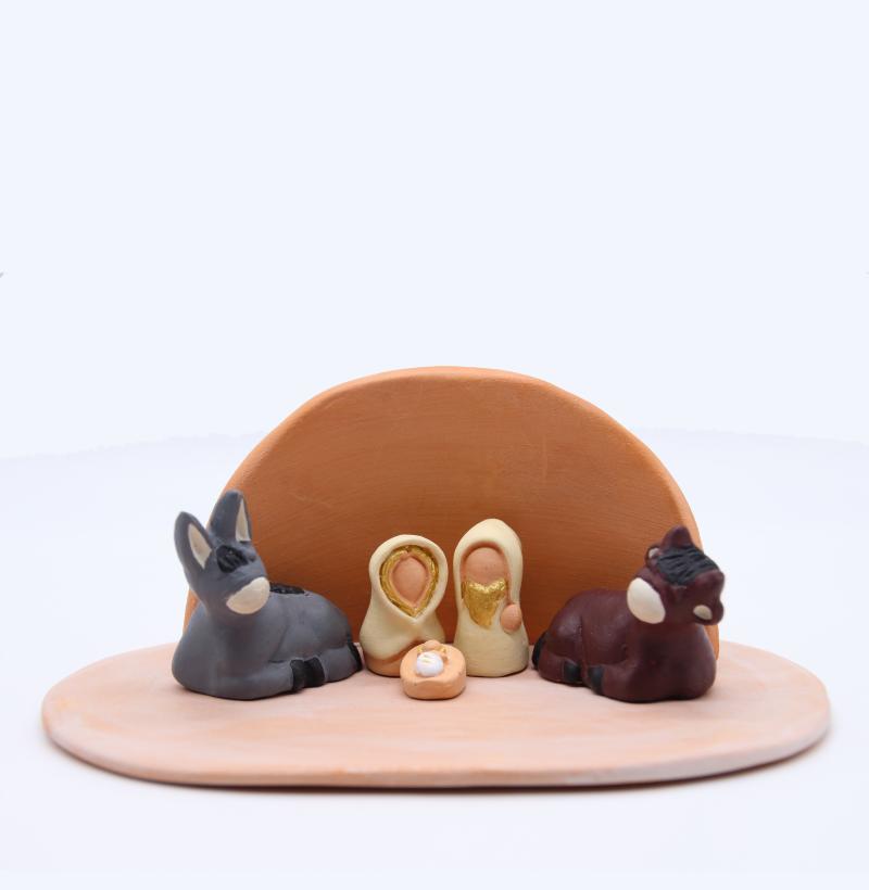 Plaque Rose Et Abri Brut + Nativité Produit Etable Miniature