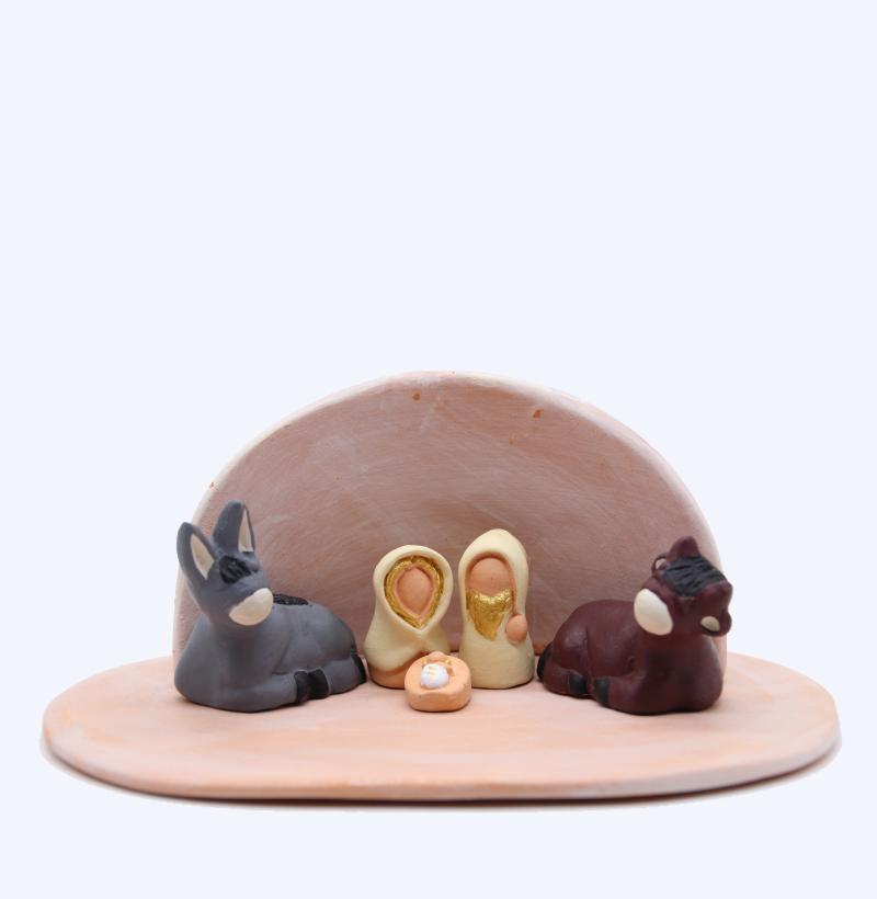 Plaque Rose Et Abri Rose + Nativité Produit Etable Miniature