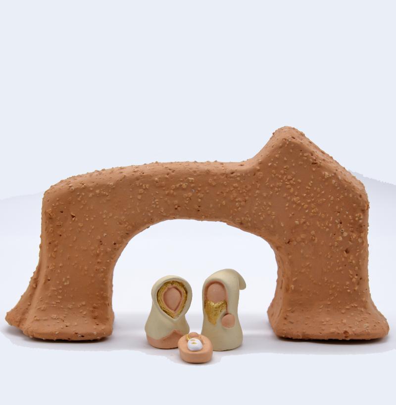Arche Brute Grosse Chmotte Avec Sainte Famille Produit étables Miniatures